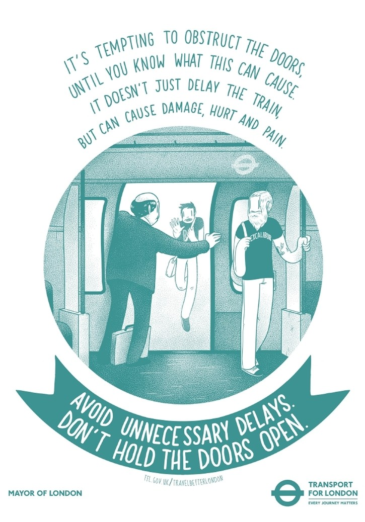 pn246 - TfL campaign poster to further reduce delays - Blocking, holding...